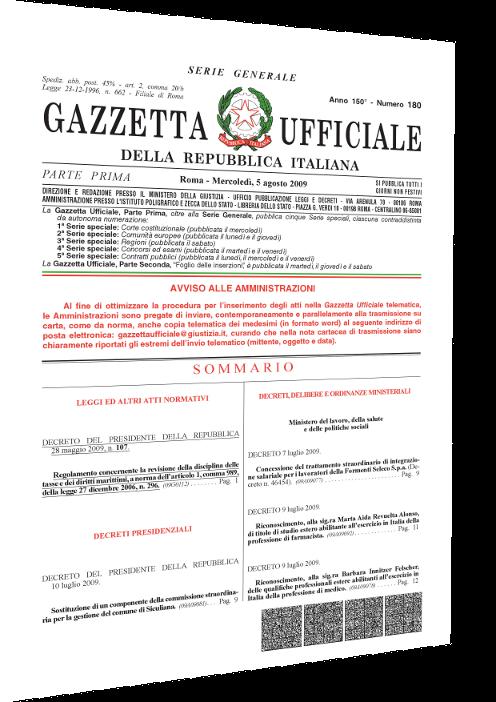 Cover Gazzetta Ufficiale